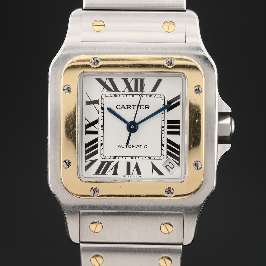 "Cartier ""Santos Galbee XL"" 18K Gold and Stainless Steel Automatic Wristwatch"