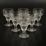 Set of Six Engraved Glass Goblets with Monogram and Crest in Custom Wood Box