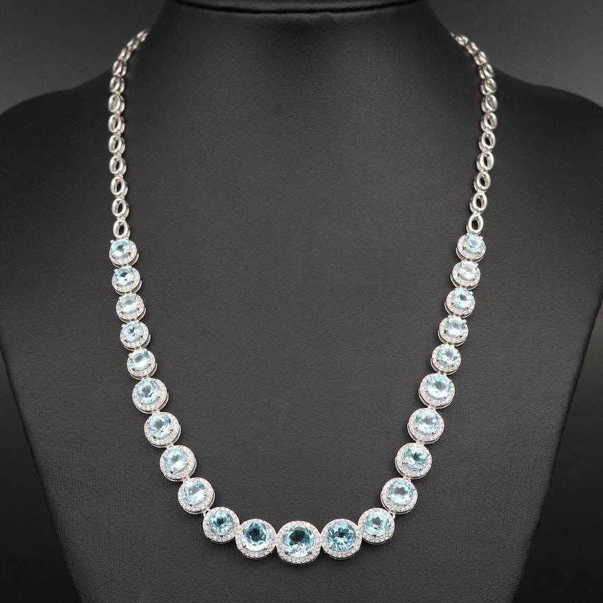 Sterling Topaz and Cubic Zirconia Halo Graduated Necklace