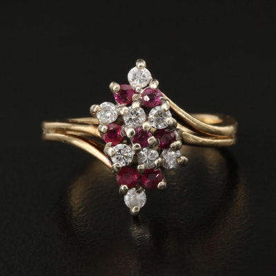 14K Ruby and Diamond Bypass Cluster Ring