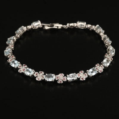 Sterling Aquamarine and Sapphire Four Clover Bracelet
