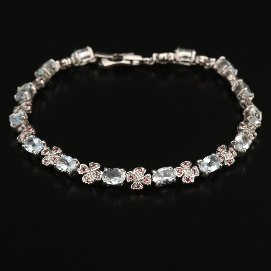 Sterling Aquamarine and Sapphire Four Clover Bracelet