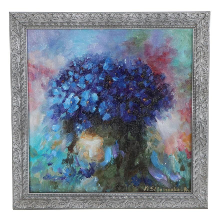 "Nataliya Shlomenko Oil Painting ""Blue Flowers,"" 2021"