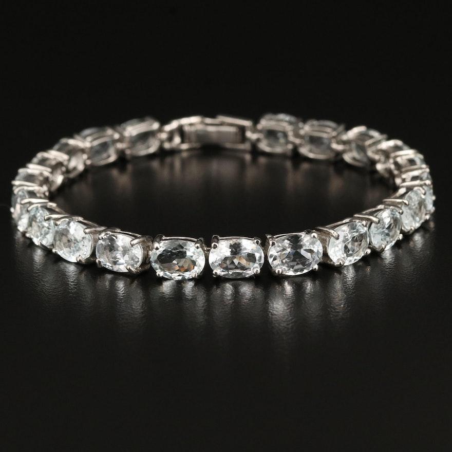 Sterling Aquamarine Line Bracelet