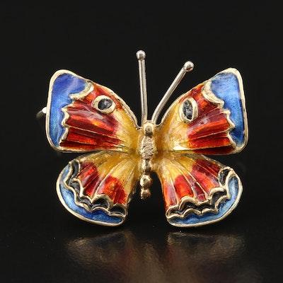 Italian 18K Enamel Butterfly Brooch