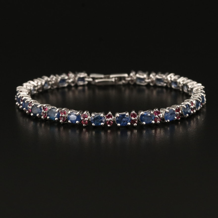 Sterling Sapphire and Garnet Bracelet