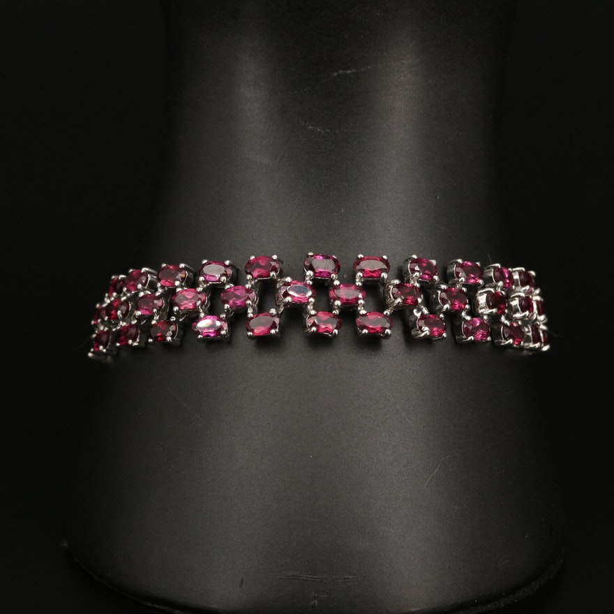 Sterling Garnet Link Bracelet
