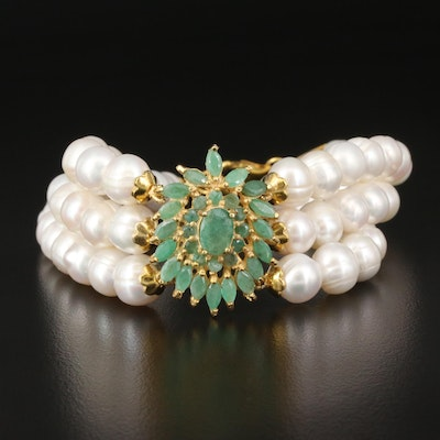 Sterling Pearl and Emerald Triple Row Bracelet
