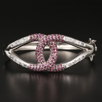 Sterling Garnet and Cubic Zirconia Knot Bracelet
