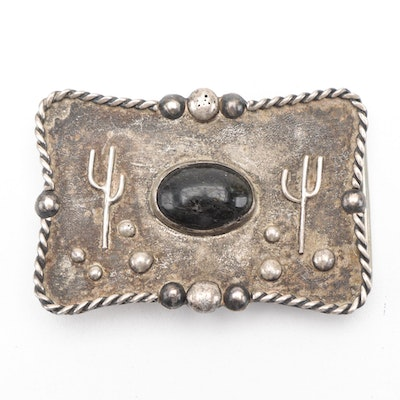 Sterling Silver and Quartzite Southwestern Style Belt Buckle
