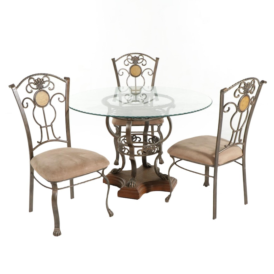 Glass Top Dining Table with Three Chairs, 21st Century