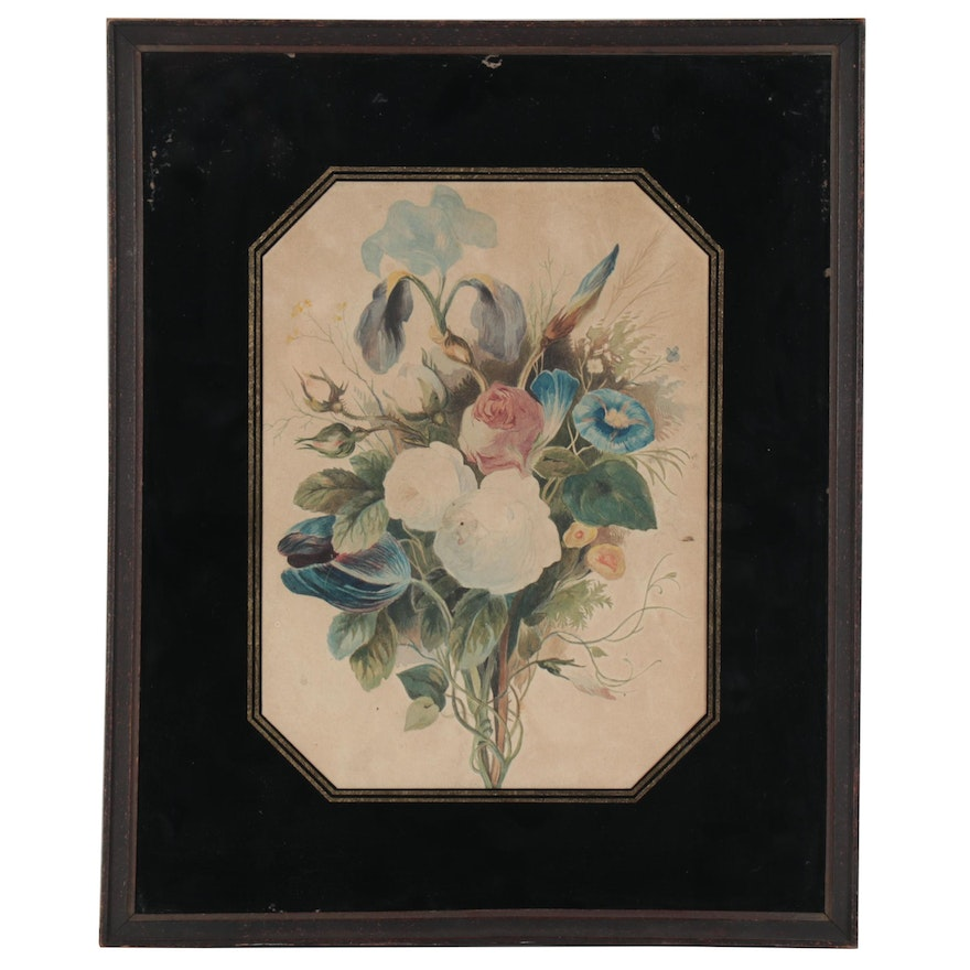 Floral Bouquet Watercolor Painting, Early 20th Century