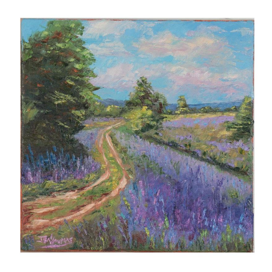 """James Baldoumas Landscape Oil Painting """"Dirt Road,"""" 2021"""