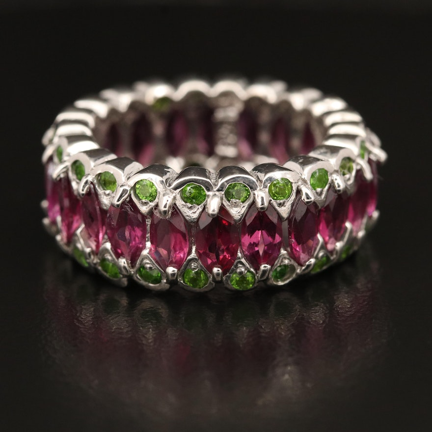 Sterling Garnet and Diopside Eternity Band