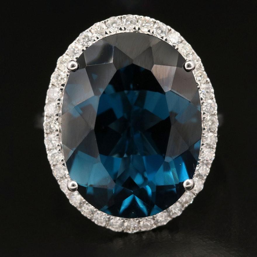 14K 21.92 CT London Blue Topaz and Diamond Statement Ring