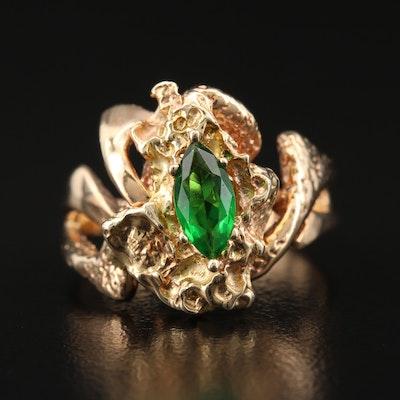 Brutalist Style 14K Glass Ring