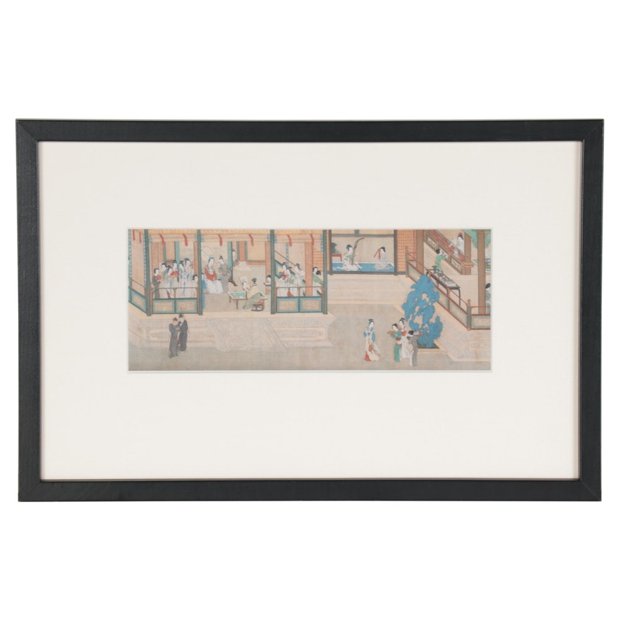 "Offset Lithograph after Qiu Ying ""Spring Morning in the Han Palace"""