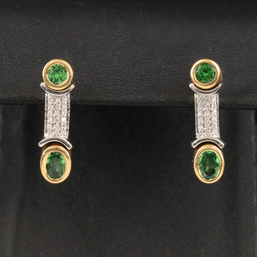 18K Tsavorite and Diamond Drop Earrings