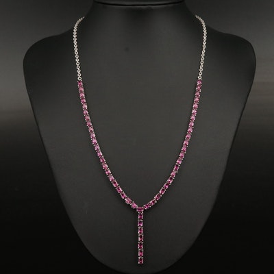 Sterling Silver Garnet Y Necklace