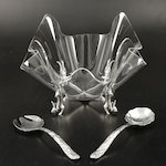 Arthur Court Acrylic Serving Bowl with Bunny Stand and Pewter Salad Servers