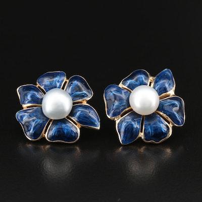 Pearl Stud Earrings with 14K Enamel Flower Enhancers