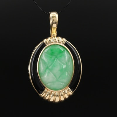 14K Jadeite and Black Onyx Enhancer Pendant