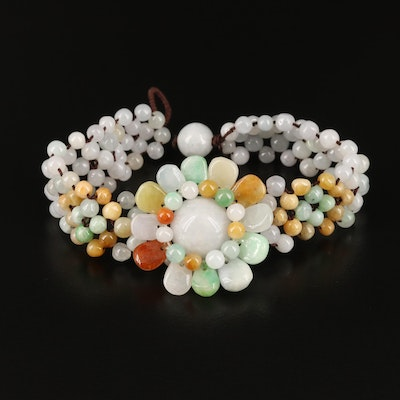 Jadeite Beaded Flower Bracelet