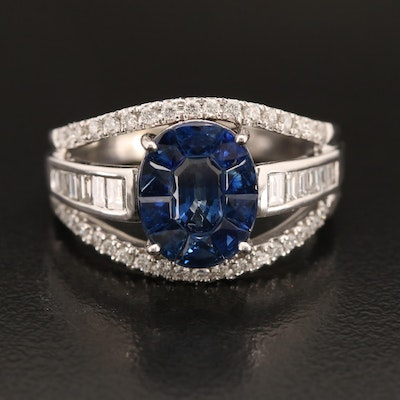 18K Sapphire and Diamond Ring with Split Shank