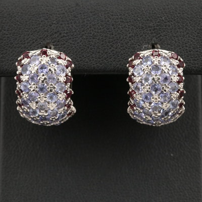 Sterling Pavé Tanzanite and Garnet Huggie Earrings