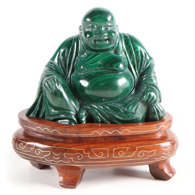 Hand-Carved Malachite Budai Figurine on Wooden Platform