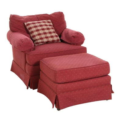 J. Royale Fabric Upholstered Armchair and Ottoman, Late 20th Century