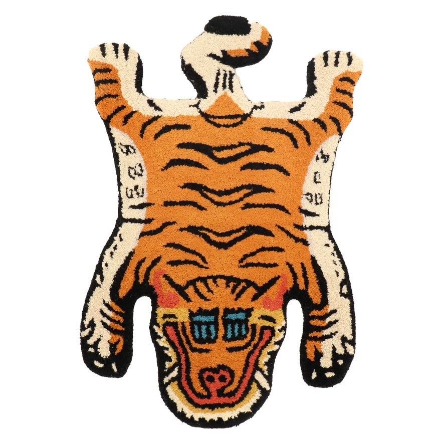 2' x 2'11 Hand-Tufted Pictorial Tiger Shaped Accent Rug