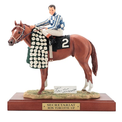 "Cold Cast Porcelain Sculpture ""Secretariat, Ron Turcotte Up"""