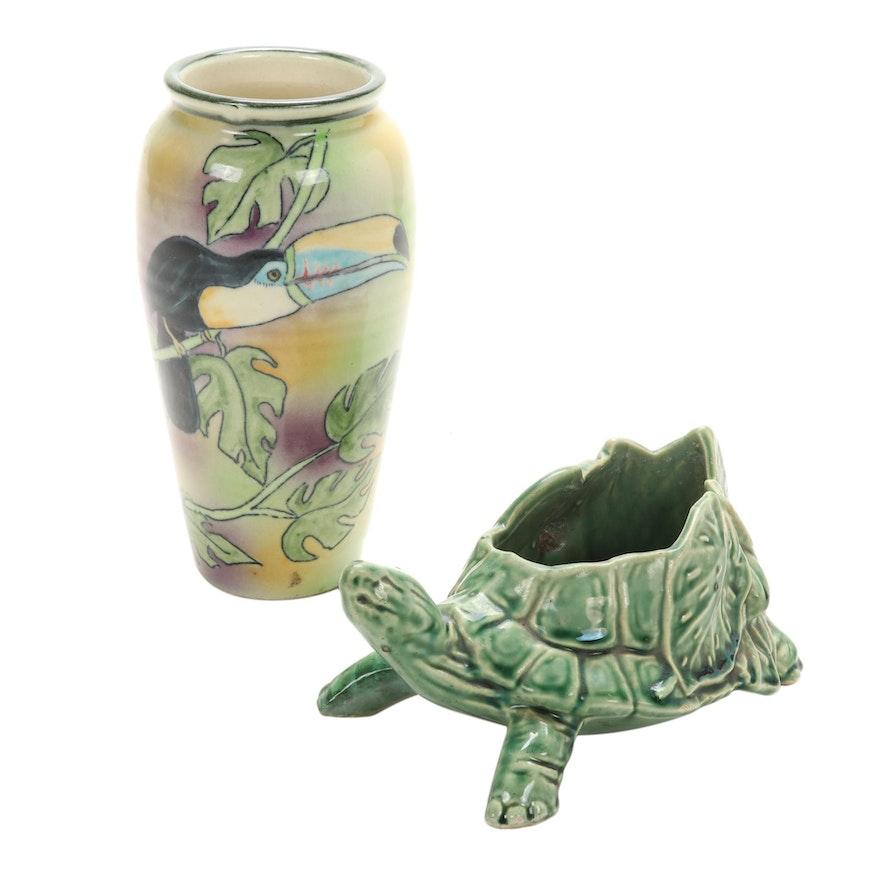 McCoy Ceramic Turtle Planter with Santa Barbara Ceramic Design Vase