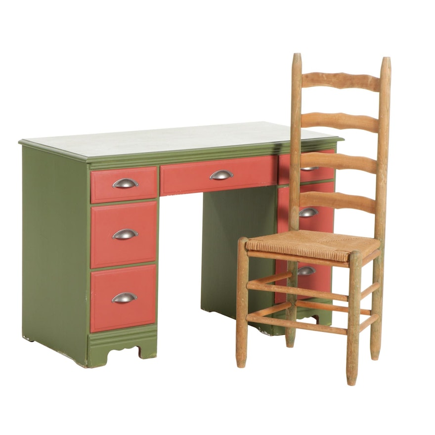 Kneehole Desk in Red and Green with Ladder Back Chair, Mid-20th Century