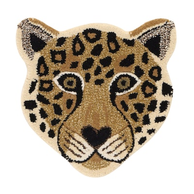 1'6 x 1'7 Hand-Tufted Indian Cheetah Head Shaped Accent Rug