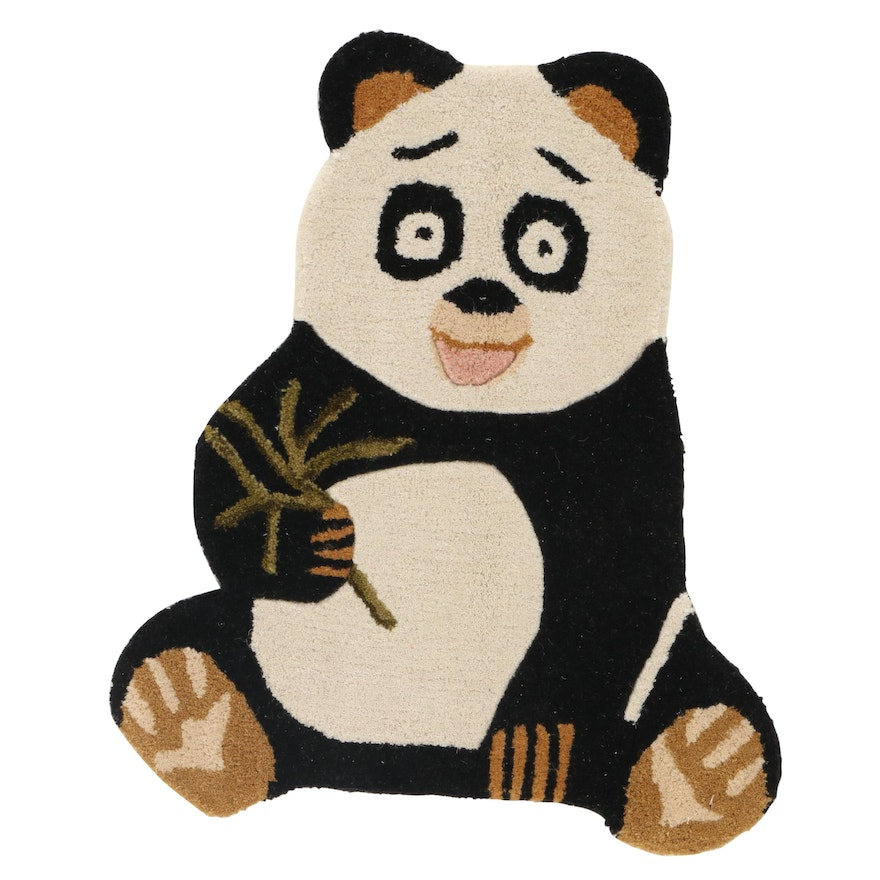 1'10 x 2'2 Hand-Tufted Indian Panda Shaped Accent Rug