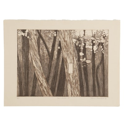 "Thomas Norulak Etching with Aquatint ""Trail Marker - 3,"" 1996"