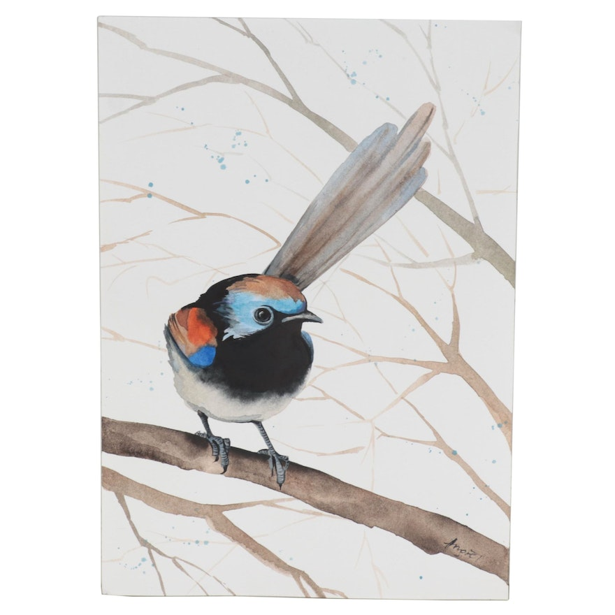 """Anne """"Angor"""" Gorywine Watercolor Painting of a Wren, 2020"""