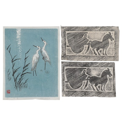 Chinese Woodblock of Crane and Relief Prints, 1987