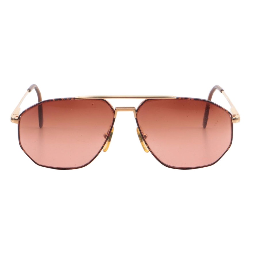 Serengeti Eyewear Gold-Tone Metal Aviator Sunglasses and Case