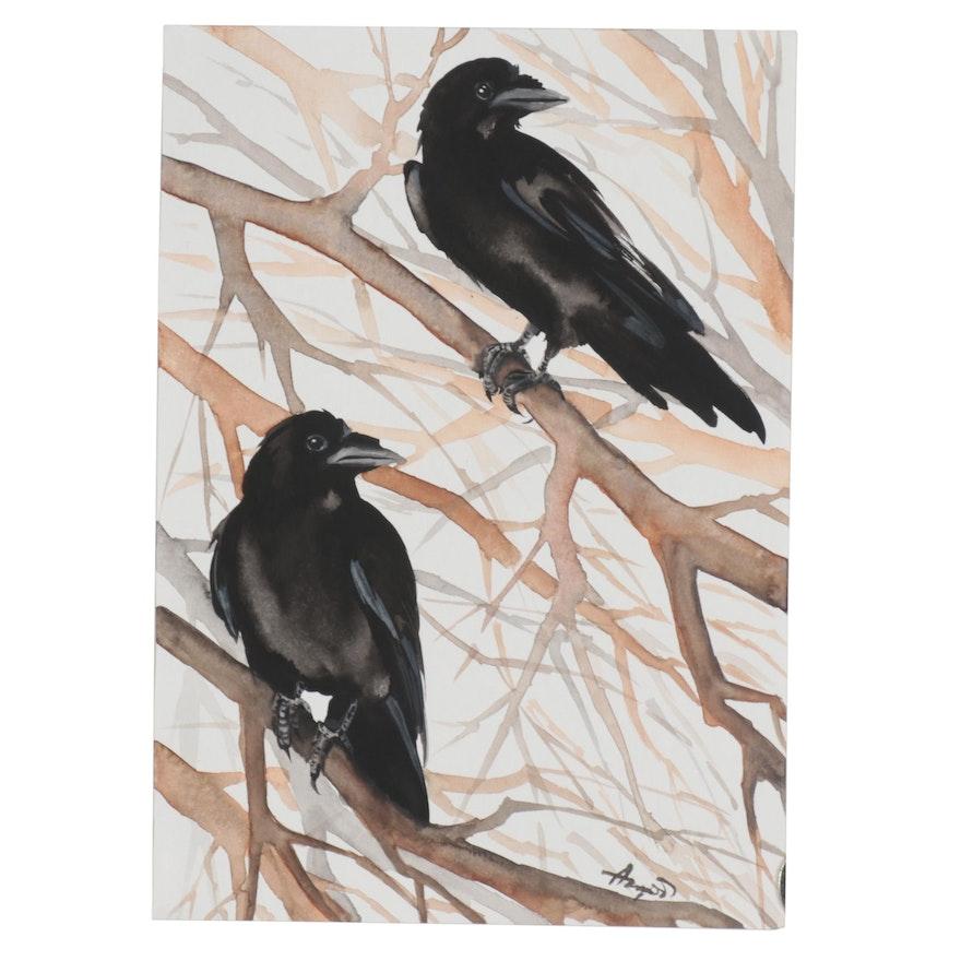 """Anne """"Angor"""" Gorywine Watercolor Painting of Ravens"""