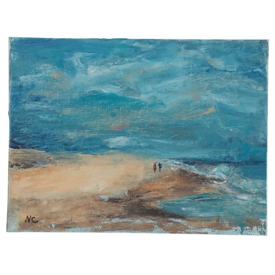 Natalie Clarke Seascape Oil Painting of a Beach Scene, 21st Century