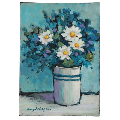 "Nancy Morgan Acrylic Painting ""Four Daisies,"" 21st Century"