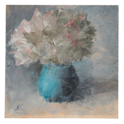 Natalie Clarke Floral Still Life Oil Painting, 21st Century