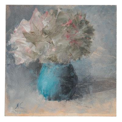Natalie Clarke Floral Still Life Oil Painting, 21st Century