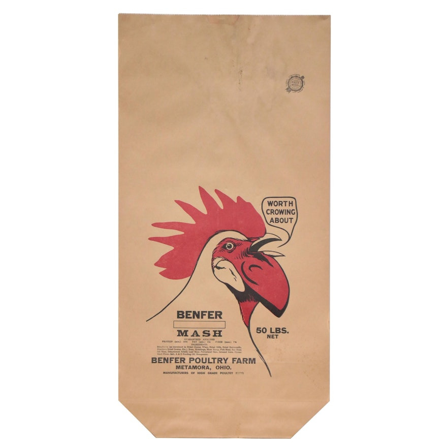 Chatfield & Woods Sack Co. for Benfer Poultry Farms Paper Feed Sack