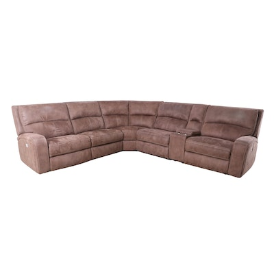 Faux Microsuede Reclining Sectional Sofa