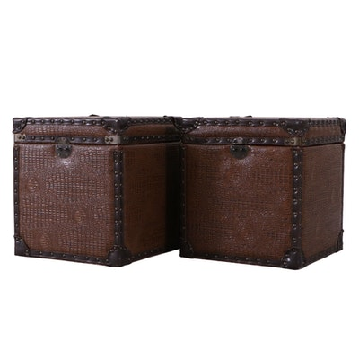 Pair of Faux Leather Storage Cubes