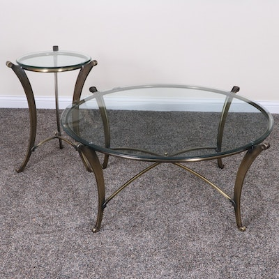 Antiqued Brass Glass Top Cocktail Table and Side Table